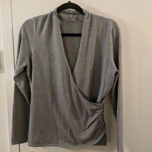 Ann Taylor Gray Faux Wrap V-neck Sweater